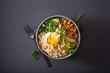 quinoa bowl with egg, avocado, cucumber, lentil. Healthy vegetarian lunch - 247816107