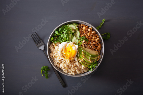 quinoa bowl with egg, avocado, cucumber, lentil. Healthy vegetarian lunch - 247816107