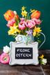 Leinwanddruck Bild - Froehliche bunte Blumen