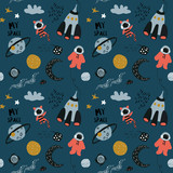 Space cosmic textile or package pattern.  Childish cute vector illustration of rocket, planets and kid astronaut.