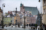 Warsaw old town winter scene under snowfall - 247826177