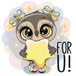 Cartoon Owl girl with star on the stars background - 247827374