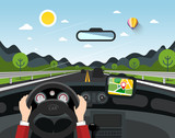 Driving Car Vector Illustration with Hills on Background. Automobile on Road with Pin on GPS Navigation.