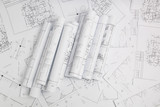 Paper architectural drawings and blueprint. Engineering blueprint - 247831964