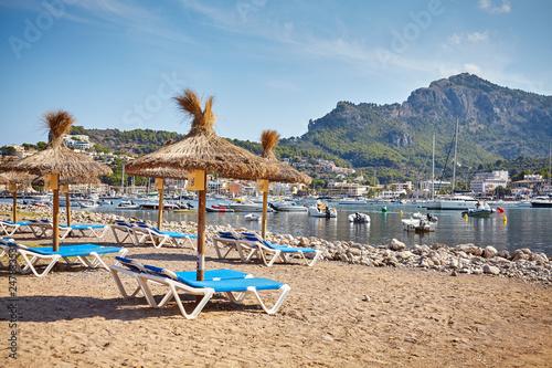 Morning at a beach in Port de Soller village, Mallorca, Spain. - 247833531