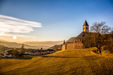 Great view of alpine church at sunset, Dolomites Alps, South Tyrol, Italy, Europe. Scenic image of beautiful nature landscape. Discover the beauty of earth