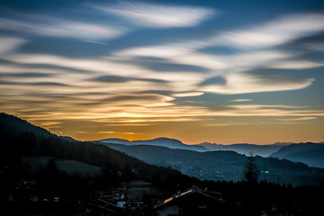 Beautiful colorful sunset sky over the mountains in South Tyrol
