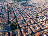 View from drone of Eixample district with Sagrada Familia - 247837300