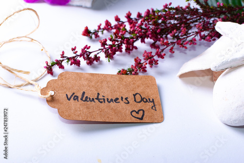 "Leinwanddruck Bild An arrangement for luxury wellness gift ideas and cards with a tag saying ""Valentine's Day"""