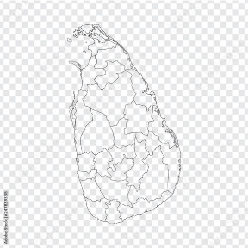 Blank map Sri Lanka. High quality map Sri Lanka with provinces on ...