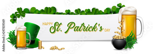 Happy Saint Patrick's Day background, greeting card with green four and tree leaf clovers. - 247839369