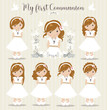 Lovely set of girls for First Communion - 247839757