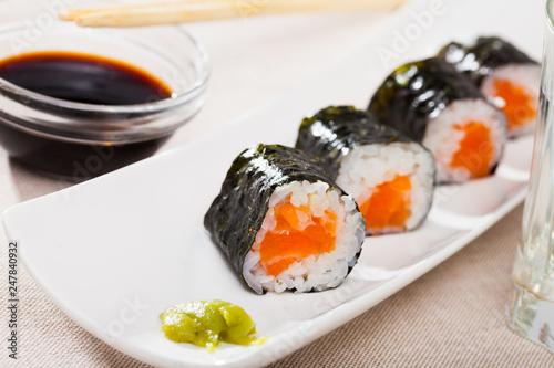 Makizushi set with salmon