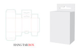 Hang Tab Box, Vector with die cut / laser cut layers. Paper Box with Handle, Packaging Design with 3D presentation. White, clear, blank, isolated Paper Box mock up on white background. - 247841904