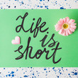 Life is short written on pastel green. Quote