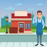 restaurant waiter cartoon - 247846304