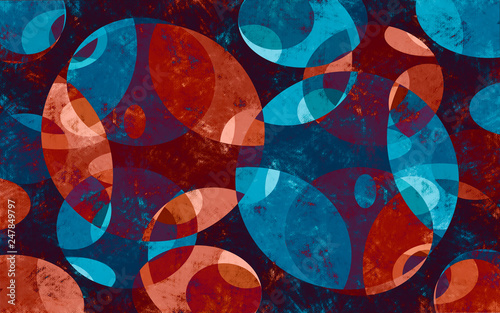 abstract background with circles orange, blue, red and green  - 247849797