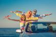 Leinwandbild Motiv Happy family travel by car