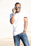 african american man talking on the phone isolated background