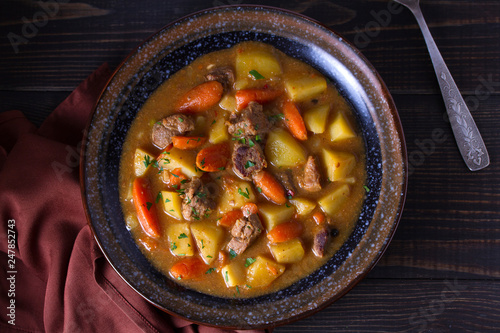 Leinwandbild Motiv Irish beef and stout stew. View from above, top studio shot