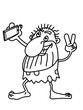 funny troglodyte caveman stone age characters illustration  selfie drawing line - 247855114
