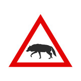 Warning Sign with Silhouette of Wolf.