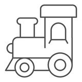 Train toy thin line icon. Baby toy vector illustration isolated on white. Locomotive outline style design, designed for web and app. Eps 10.