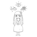 little girl and set icons in first communion celebration