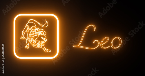 Leo Zodiac Symbol With Orange Neon Lights Isolated On The Black Background - 3D Illustration © Levan