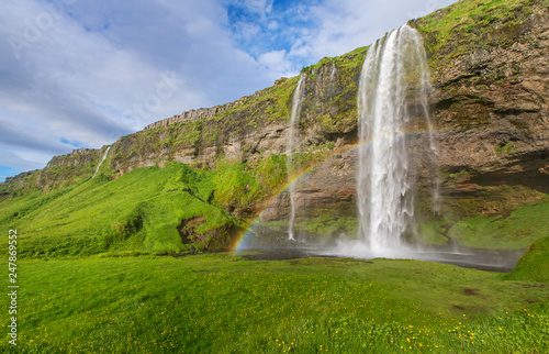 Famous Iceland Waterfall in the summer