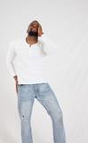 Serious Black man in white shirt - 247873185