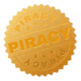 PIRACY gold stamp medallion. Vector golden medal with PIRACY text. Text labels are placed between parallel lines and on circle. Golden surface has metallic structure.