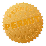 PERMIT gold stamp award. Vector golden award with PERMIT text. Text labels are placed between parallel lines and on circle. Golden surface has metallic structure.