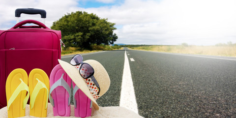 travel and beach objects with bottom road