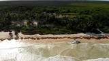 Drone shot of wrecked boat on Tulum beach with Sargasso seaweed and trees in the background - 247892581