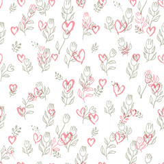 Seamless pattern of hand drawing hearts and tulips. Simple modern background for romantic design. Doodle pink hearts and line-art flowers are carelessly scattered over white. EPS 10 © difinbeker