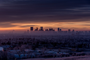 View of Calgary's skyline from Nose Hill Park on a winter morning.