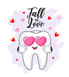 Tooth character fall in love. Happy Valentine's day concept. Vector Illustration isolated on white background.