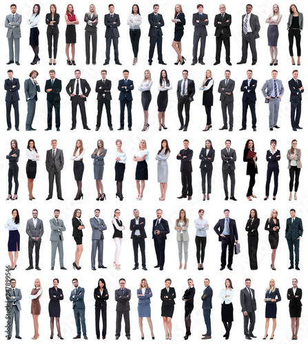 Leinwandbild Motiv collage of young business people standing in a row.