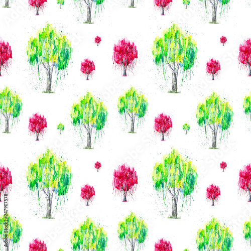 Abstract watercolor illustration of green and red Russian birch tree with splashis isolated on white background. Hand painted on paper. Seamless pattern © Marina