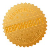 RESPONSIBILITY gold stamp medallion. Vector gold award with RESPONSIBILITY text. Text labels are placed between parallel lines and on circle. Golden skin has metallic structure.