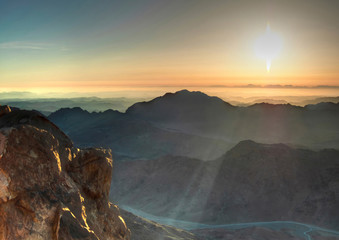 Panorama view from the Mount Sinai in Egypt