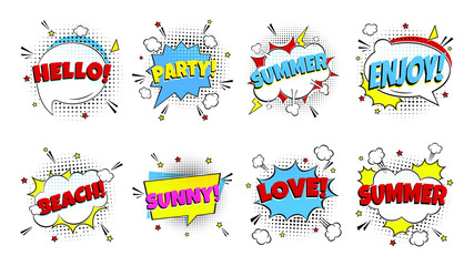 8 Comic Lettering Summer In The Speech Bubbles Comic Style Flat Design. Dynamic Pop Art Vector Illustration Isolated On White Background. Exclamation Concept Of Comic Book Style Pop Art Voice Phrase.