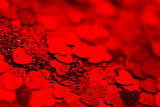 Red hearts confetti texture. Happy Valentines day background. - 247923135