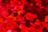 Red hearts confetti texture. Happy Valentines day background. - 247923933