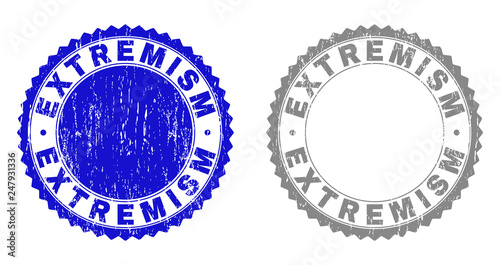 Grunge EXTREMISM stamp seals isolated on a white background. Rosette seals with distress texture in blue and gray colors. Vector rubber stamp imprint of EXTREMISM title inside round rosette. © imagecatalog