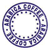 ARABICA COFFEE stamp seal watermark with grunge texture. Designed with round shapes and stars. Blue vector rubber print of ARABICA COFFEE tag with unclean texture. - 247941356