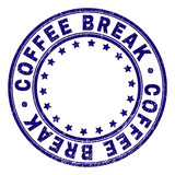 COFFEE BREAK stamp seal imprint with grunge texture. Designed with circles and stars. Blue vector rubber print of COFFEE BREAK tag with corroded texture. - 247941577