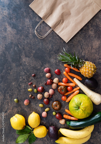 fresh fruits and vegetables on the stone table. zero waste concept - 247944142