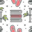 Towel and bamboo with flip flops and stones seamless pattern spa and beauty - 247944945
